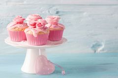 Pink cup cakes. On a blue background royalty free stock photo