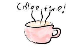 A pink cup with a handle of hot delicious invigorating black coffee, a drink painted with watercolor gouache paints brush and royalty free illustration