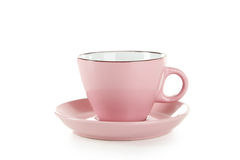Pink cup isolated on white background Royalty Free Stock Images
