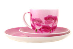 Pink cup and saucer Royalty Free Stock Images