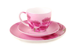 Pink cup and saucer Stock Image