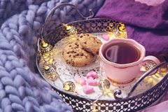 Pink cup of tea,cookies, garland. And wool blanket stock photography