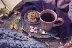 Pink cup of tea. Cookies, garland and wool blanket stock photo