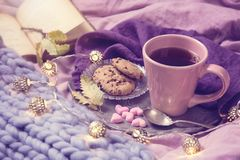 Pink cup of tea. Cookies, garland and wool blanket royalty free stock photo