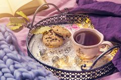 Pink cup of tea. Cookies, garland and wool blanket stock photography