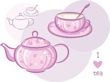Pink cup and teapot Royalty Free Stock Photography