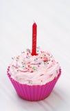 Pink cupcake. Birthday surprise high resolution image Stock Photos