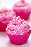 Pink cupcake. Birthday surprise close-up Royalty Free Stock Photography