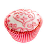 Pink cupcake. Isolated on white Stock Photography