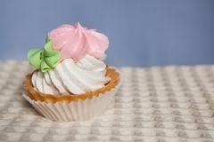 Pink cupcake on blue background with copy space. One pink cupcake on blue background with copy space Royalty Free Stock Photo