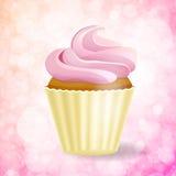 Pink cupcake on Bokeh background Stock Photos