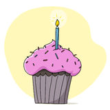 Pink cupcake with candle illustration Royalty Free Stock Photo