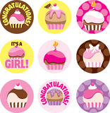 Pink Cupcake Circles. A group of cupcake circles for a baby shower or a girl's cupcake themed party Stock Photography