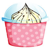 A pink cupcake container with a cupcake Royalty Free Stock Photography