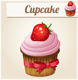 Pink cupcake. Detailed Vector Icon Stock Photo