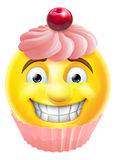 Pink Cupcake Emoji Emoticon Stock Image