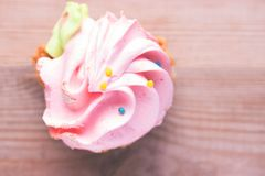 Pink cupcake in hand Royalty Free Stock Photos