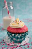 Pink cupcake and milk Stock Photo