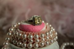 Pink Cupcake with Pearls stock image