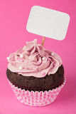 Pink cupcake with placard Royalty Free Stock Photography