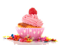 Pink cupcake with raspberry Royalty Free Stock Photos