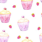 Pink cupcake and raspberry background. Seamless vector texture with watercolor desserts. Stock Photos