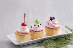 Pink cupcake with red cherry,blueberry sauces,green jelly royalty free stock photo