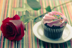 Pink cupcake with red rose. Pink cupcake and red rose on colorful wood table cloth Stock Photos