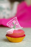 Pink cupcake with roses Stock Images