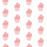 Pink cupcake seamless pattern. Sweet cake texture design. Stock Photography