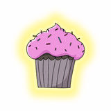 Cupcake with sprinkles on top illustration Stock Images