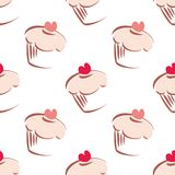 Pink cupcake tile vector background. Seamless white vector pattern or tile background with big cupcakes silhouettes, muffin sweet cake and red heart on top stock illustration