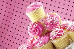 Pink Cupcakes. A stack of pink cupcakes with selective focus,  horizontal with copy space Stock Photo