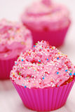 Pink cupcakes. Birthday surprise high resolution image Stock Photo