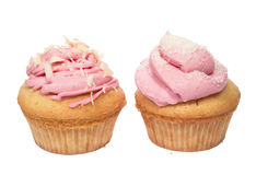 Pink cupcakes. Homemade cupcakes with pink frosting and white chokolade Stock Photography