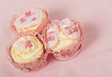 Pink cupcakes for a baby Royalty Free Stock Photography