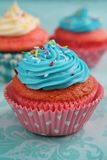 Pink and blue cupcake Stock Photography