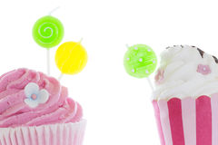 Pink cupcakes with candle Stock Image