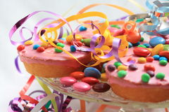 Pink cupcakes, party plate Stock Photos