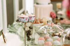 Pink cupcakes on the silver plate on the wedding Stock Photo