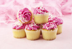 Pink Cupcakes With Sprinkles Stock Image