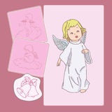 Pink Cupid. Three cupids for Valentine day and Christmas Stock Illustration