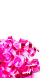 Pink Curled Ribbon, vertical Stock Photo