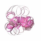 Pink curly party streamer. (white background Royalty Free Stock Images