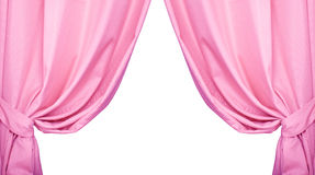 Pink curtain collected in folds ribbon isolated on a white background Royalty Free Stock Images