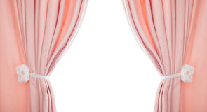 Pink curtain draped with pelmet  on a white background Stock Photos