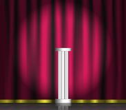 Pink curtain and pedestal on stage. With spotlight. Vector illustration royalty free illustration