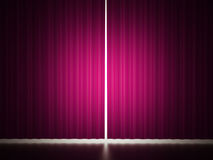 Pink curtain with spot light Stock Photos