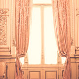 Pink curtains. In a theatre lobby Stock Photo