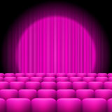Pink  Curtains with Spotlight and Seats Stock Image